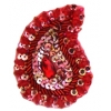 Motif Sequin/beaded 4.8x7.5cm (2pcs) Red